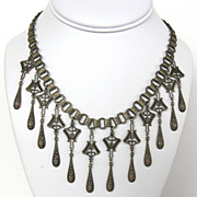 Victorian Revival Pewter Color Bib Dangle BookChain Necklace