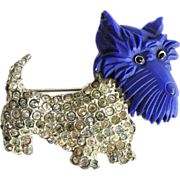 Coro Vintage 1930s Scottie Dog Pin with Celluloid Head
