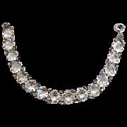 REDUCED Sterling Art Deco Edwardian Open Back Crystal Bracelet