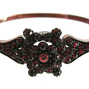 SALE Antique Victorian Bohemian Garnet Hinged Bangle Bracelet
