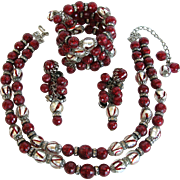 SALE PENDING Vintage Hobé  Red and Silvery Color Bead and Rhinestone Parure – Necklace, Ear