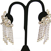 Kramer Vintage Dangle Clear Marquis Rhinestone Earrings