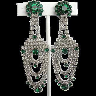 SALE Green and Clear Rhinestone Shoulder Duster Vintage Dangle Earrings