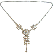 Ralph DeRosa Vintage Sterling 1940s Clear Rhinestone Pendant Necklace