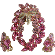 Weiss Vintage 1950s Pink Rhinestone Pin and Earring Set