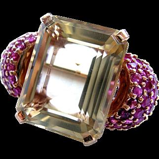 SALE Citrine and Ruby Estate Retro Design 14K Gold Brooch/Pin