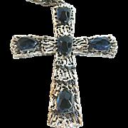 SALE Tortolani blue glass and silver-tone cross on chain