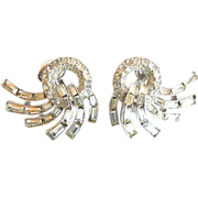 Trifari  Crown Mark Vintage Clear Rhinestone Baguette Swirl Earrings