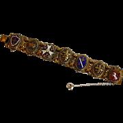 Vintage Heraldic Renaissance Revival Brass & Enamel Bracelet