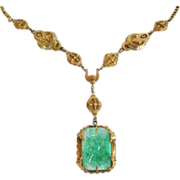 Czech Peking Glass Pendant Necklace with Elaborate Chain