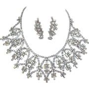 SALE Fabulous Clear Baguette Rhinestone Necklace and Earrings