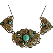 Vintage 1930s Czechoslovakia Peking Glass Gürtler Work Brass Gilt Necklace