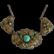 SALE Vintage 1930s Czechoslovakia Peking Glass Gürtler Work Brass Gilt Necklace