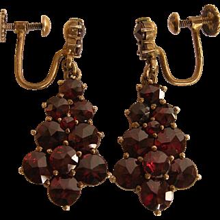 SALE Bohemian Rose Cut Garnet Sterling Vermeil Earrings