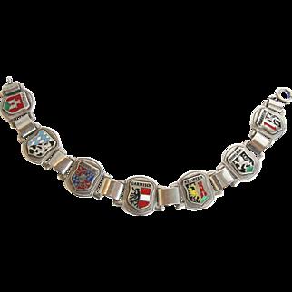 SALE Vintage 835 Silver German Enamel Souvenir Bracelet