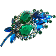 SALE Juliana Book Piece Blue Marquis and Green Oval Rhinestone Brooch