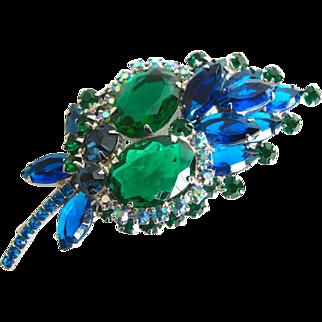 SALE Juliana Book Piece Blue Marquis and Green Oval Rhinestone Brooch