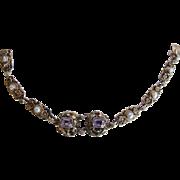 SOLD Antique Austro-Hungarian Swedish 830 Silver Vermeil Amethyst Bracelet