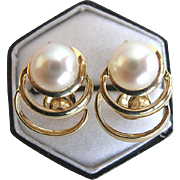 REDUCED Mikimoto 14 Karat Yellow Gold and Akoya Pearl Vintage Earrings
