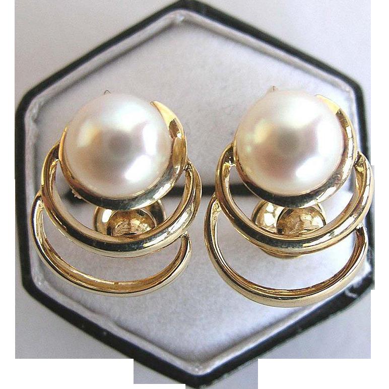 Mikimoto 14 Karat Yellow Gold and Akoya Pearl Vintage Earrings