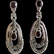 Sajen Sterling Silver Garnet Long Dangle Earrings