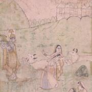 Antique Indian Miniature Painting Krishna & Gopis c1880