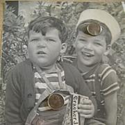 Advertising Photograph / Portrait.. Boys Holding CRACKER JAX Box..1940's..Excellent Condition