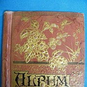 Antique Victorian Album Cover..Gold Embossed Bird..Flowers & Berries..Assorted Scrap Inserts