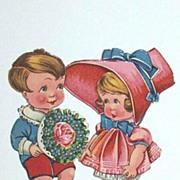 Antique Valentine Couple Ephemera..Girl In Pink Bonnet / Boy With Nosegay..Germany