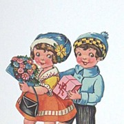 Antique Valentine Couple Ephemera..Girl With Flowers / Boy With Pink Box..Die-Cut..Embossed. .