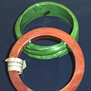 Two Vintage ...Marbleized Plastic Bangle Bracelets...Jade Green Swirl...Dusty Apricot...Hong Kong...  Set Of TWO