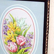 Set Of 3 Framed Oval Chintz Florals