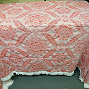 Morgan Jones King Cotton Jacquard Williamsburg Style Red/White Fringed Bedspread..Excellent Co