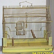 Retro Yellow Wire And Enamel Bird Cage Marked J Tametal