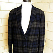 Black Watch Plaid Blazer / Jacket Wool Lauren / Ralph Lauren..Size 16