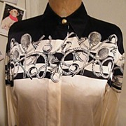 ESCADA Silk Tennis Border Print Blouse..Ivory With Black Print Tennis Rackets..Size 36..Made I