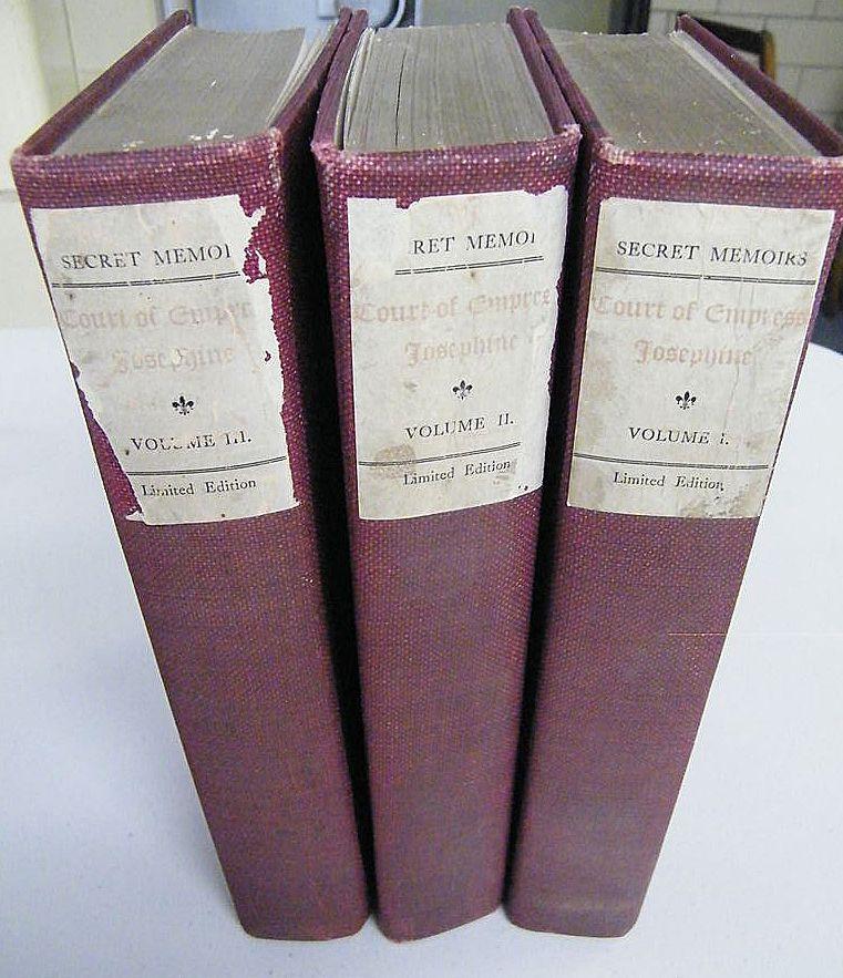 Antique Book Set..Secret Memoirs Of Empress Josephine..3 Volumes