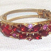 Vintage...Mid-Century Red Butterfly Rhinestone Clamper Bracelet With Pink Accents..Dainty!