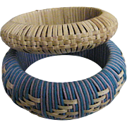 Wrapped Straw Bangle Bracelet Set Of Turquoise With Natural Straw Design..&..Natural Straw