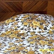 Twin Golden Yellow Jacobean Design Bedspread With Birds And Flowers Made With Waverly's Audubon Design