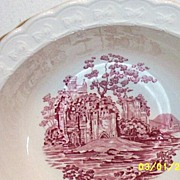"Taylor-Smith-Taylor Pink Castle White Ground Vegetable Bowl [9"" Dia.]"
