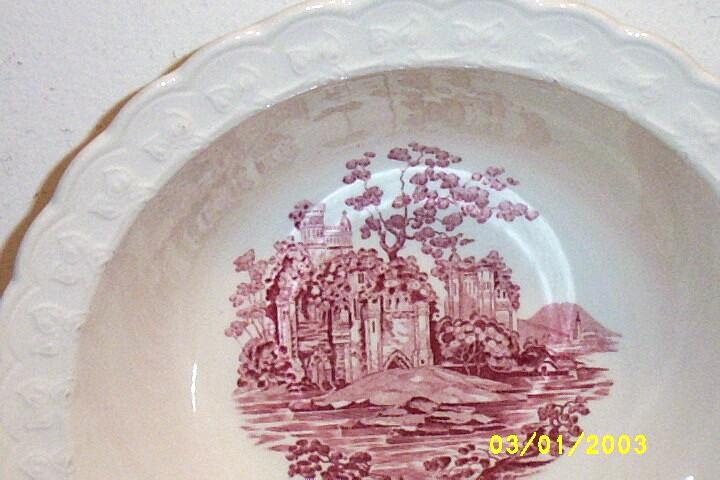 """Taylor-Smith-Taylor Pink Castle White Ground Vegetable Bowl [9"""" Dia.]"""