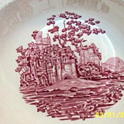 "Taylor, Smith, Taylor Round Off-White Vegetable Bowl [9""] In Pink Castle Pattern"