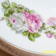 "German Porcelain Decorative Bowl [9"" Diameter] With Pink And White Cabbage Roses"