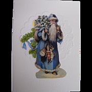 Santa In Long Blue Robe & Hood Carrying Tree & Toys..Christmas Card Collage..Die Cut Scraps ..