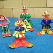 Colorful Set of Four Paper Mache Clowns..Hand Made..USA