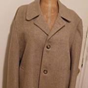SALE DESIGNER...John Weitz...Camel / White Wool Herringbone Winter Outer Coat..Mens..Size 44R.