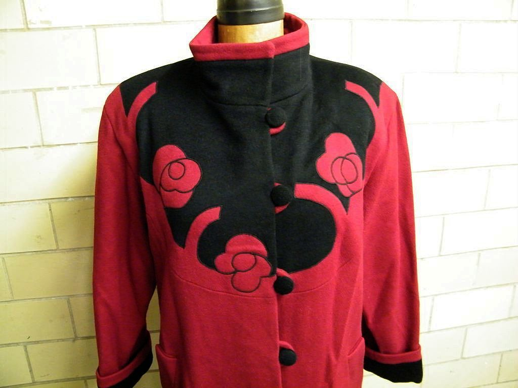 Dark Red Wool Coat With Applique Floral On Black Ground..By Gallery...1980's..Excellent Condition
