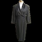 Black Russian Style Coat-Dress In Rayon Crepe..Faux Persian Lamb Collar..Frog Closing..Size 14