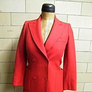 SALE Jean Paul Paris..Red Wool Semi-Fitted Double Breasted Wool Coat..Excellent Condition